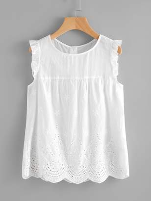b2ba58758c6a7 Shein Eyelet Embroidered Scallop Hem Frilled Shell Top