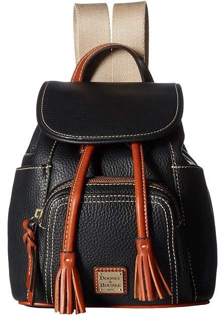 Dooney & Bourke Pebble Small Murphy Backpack Backpack Bags - BLACK/TAN TRIM - STYLE