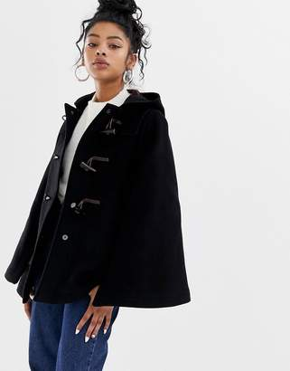 Gloverall duffle style cape coat in wool blend