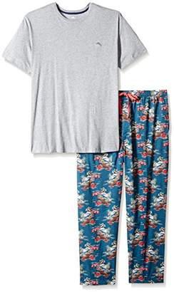Tommy Bahama Men's Tall Size Woven Pant Knit Tee Pajama Set