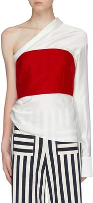 Hellessy 'Paloma' contrast bustier panel one-shoulder top