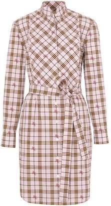 Burberry EKD Check Cotton Tie-waist Shirt Dress