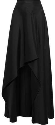 Badgley Mischka Asymmetric Ruffled Satin-Twill Maxi Skirt