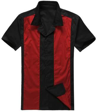 American Vintage Candow Look Canddow Look 50S men bowling shirt black&red vintage retro tops (, black&red)