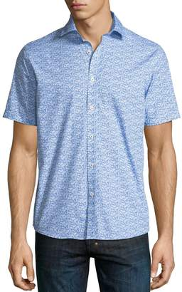 Neiman Marcus Mini Fish-Print Short-Sleeve Sport Shirt