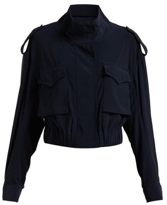 Norma Kamali Cargo Pocket Stretch Jersey Jacket - Womens - Navy