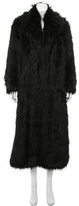 Dries Van Noten Notch-Collar Faux Fur Coat w/ Tags