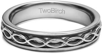 Celtic TwoBirch Sterling Silver Plain Infinity Men's Wedding Band(crt)