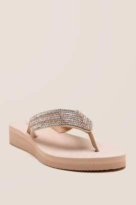 Sally Rhinestone Flip Flop Sandal - Natural