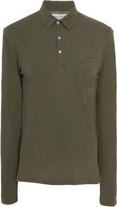 Officine Generale Three-Button Long Sleeve Cotton Polo