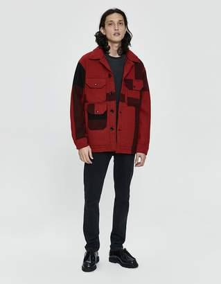Engineered Garments Melton Wool Cruiser Jacket in Red Big Plaid