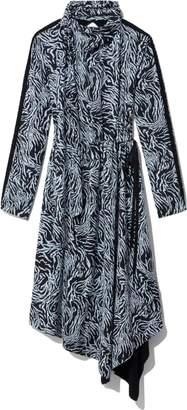 Proenza Schouler Longsleeve Draped Leopard Scarf Dress