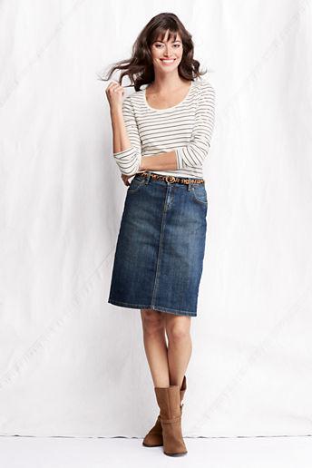 Lands' End Women's Regular Denim Skirt