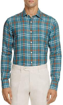 Canali Plaid Linen Regular Fit Button-Down Shirt