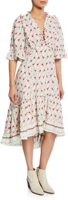 Max Studio Floral-Print Ruffle A-line Dress