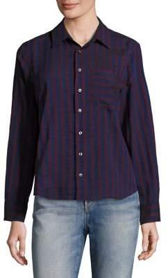 Amo Ruffled Back Striped Shirt