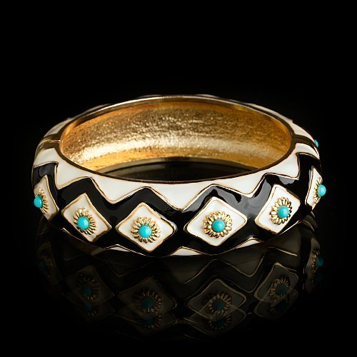 Diamond mosaic enamel bangle