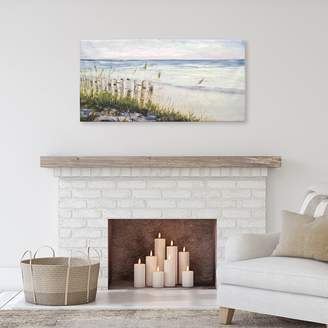 New View Beach Dunes With Fence Canvas Wall Art