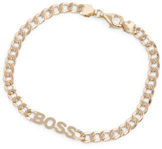 Made In Italy 14k Gold Boss Curb Chain Bracelet