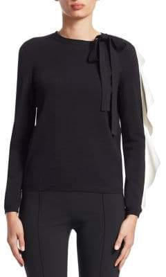 Valentino Tie-Neck Ruffle Sweater