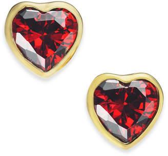 Kate Spade Gold-Tone Crystal Heart Stud Earrings