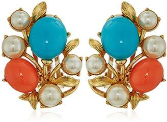 Santorini Ben-Amun Jewelry Turquoise Coral Stone Glass Pearls Gold Clip On Earrings