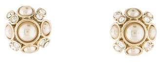 Givenchy Faux Pearl & Crystal Stud Earrings