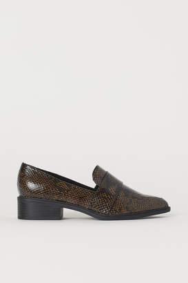 H&M Snakeskin-patterned Loafers - Beige