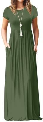 Honghu Women Short Sleeve Solid Color Long Dresses Summer Beach Sundress