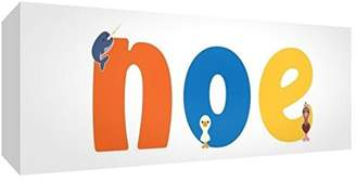 Noë Little Helper Canvas Gallery Wrapped Box with Front Panel Style Example with Boy Name 21 x 59 x 3 cm, Medium