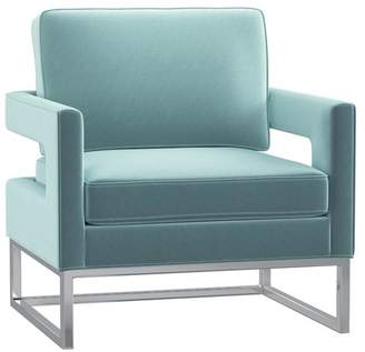 1st Avenue Fortuna Velvet Accent Chair With Silver Frame Base