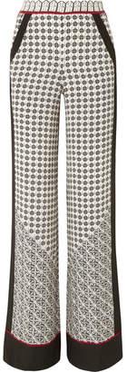 Talitha - Printed Silk Crepe De Chine Wide-leg Pants - Black