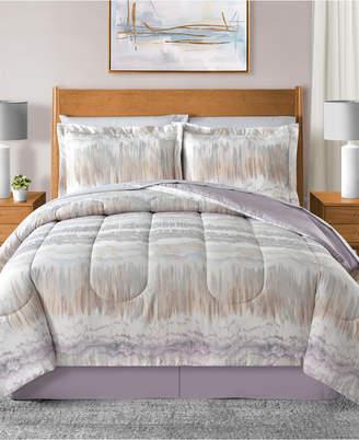 Sunham Marbelize Reversible 8-Pc. Light Gray King Comforter Set Bedding