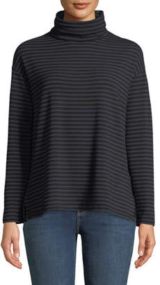 Neiman Marcus Majestic Paris for Striped French Terry Turtleneck Top