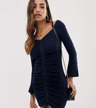 Bardot Parallel Lines knitted dress with ruched front