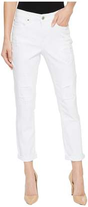 Tribal 25 Stretch Twill Five-Pocket Boyfriend Pants in White Women's Jeans