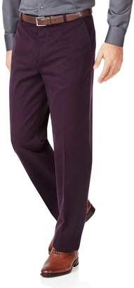 Charles Tyrwhitt Wine Classic Fit Flat Front Non-Iron Cotton Chino Pants Size W32 L30