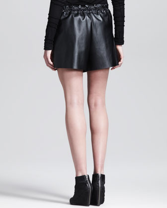 Derek Lam 10 Crosby Belted Faux-Leather Shorts