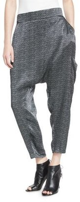 Eileen Fisher Printed Silk Cropped Harem Pants, Black $268 thestylecure.com