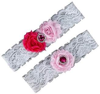 Hand Made Handmade Women's 2-Piece Bridal Chiffon Flowers Lace Garters