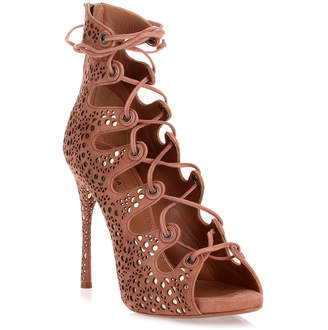 Alaia Dark nude suede lace-up sandal