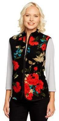 Susan Graver Printed Fleece Zip Front Vest with Pockets