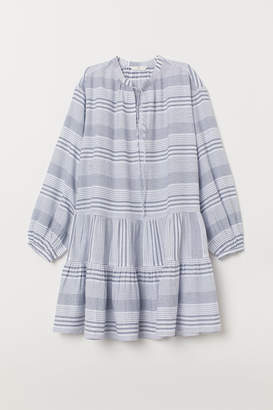 H&M Cotton Dress with Tiered Skirt - White