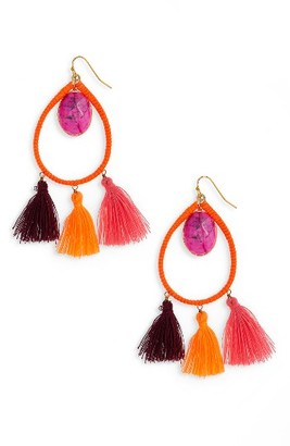 Women's Panacea Stone Tassel Earrings $32 thestylecure.com