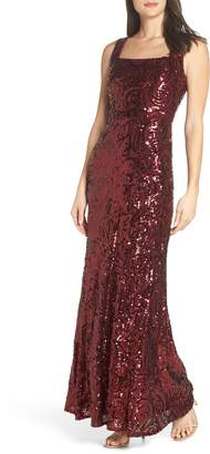 Morgan & Co. Square Neck Sequin Gown