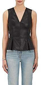 The Row Women's Monasta Leather Peplum Top - Black
