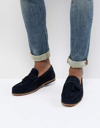 Asos Design Tassel Loafers In Navy Suede With Natural Sole