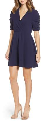 Speechless Ruched Sleeve Scuba Crepe Fit & Flare Dress