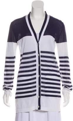 Hermes Striped V-Neck Cardigan