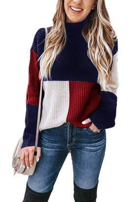 492688ad7 Suvimuga Women Sweater Sweatshirt Long Sleeve Contrast Color Knit Jumpers M